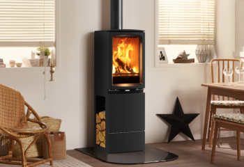 Wood burning stove in kitchen
